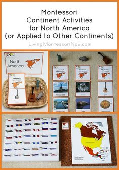 Ideas for Montessori continent activities using Montessori Print Shop materials. Examples in the post use North America printables but can be applied to other continents as well.