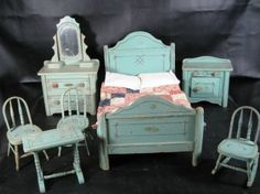 Antique doll furniture by GwendolynDiva