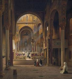 Martinus Rørbye, Interior of the Capella Palatina in Palermo, 1842 (Statens Museum for Kunst - Copenhagen)