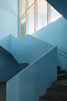 Architecture office based in Riga Style At Home, Architecture Office, Architecture Design, Stairs Colours, Architectural Floor Plans, Light Blue Aesthetic, Stair Handrail, Modern Staircase, Interior Design Kitchen