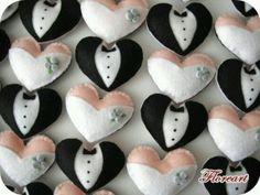 Felt, how cute are these Felt Crafts Diy, Felt Diy, Arts And Crafts, Wedding Crafts, Wedding Favours, Wedding Types, Wedding Doll, Wedding Dress, Make Do And Mend