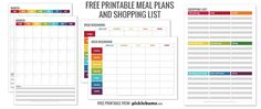 free printable meal plans and shopping list