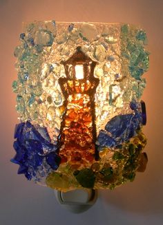 Light  House recycled Glass Night light