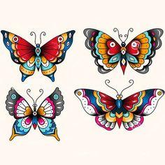 Traditional Butterflies Tattoo Design