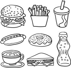sketch drawing of fastfood in line art drawing. sketch drawing of fastfood in line art drawing. - Sweet Food Collection In Black And White Stock Illustration FREE Dental Health Sorting Activity by Teaching is a Work of Art Food Coloring Pages, Coloring Books, Drawing For Kids, Art For Kids, Free Vector Art, Drawing Sketches, Drawing Art, Easy Drawings, Doodle Art