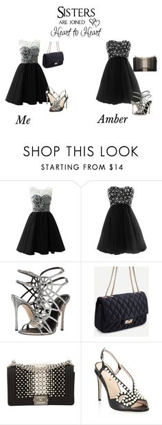 """Me and my sister: black and white prom"" by danicajewel ❤ liked on Polyvore featuring Sergio Rossi, Chanel and Fendi"