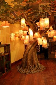 lovely faux tree indoors. Nice ceiling