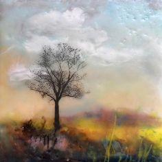 Title: Tree Tile #5  By:  Victoria Primicias,  Medium:  Encaustic Painting on Ceramic Tile Fabulous mixture of colors!