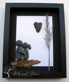 Pebble Art Couple's Gift  Unique Couple's Gift  by SticksnStone, $80.00