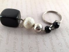 SALE 20%Black and White KeychainAgate and crystals key by LucKeyMe