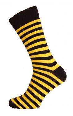 Yellow & Black Striped Men Socks