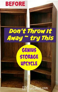 Genius storage idea from an upcycle, wait until you see the after! Genius Under The Bed Storage Upcycle - My parents were going to get rid of this ugly old laminate book shelf. I agreed with them that it wasn't pretty to look a… Furniture Projects, Furniture Makeover, Home Projects, Diy Furniture, Upscale Furniture, Furniture Storage, Upcycled Crafts, Repurposed Items, Diy Crafts