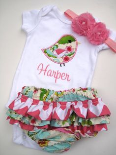 Personalized Bird bodysuit and Diaper Cover Set- Personalized Embroidered infant Set-Ruffled Diaper Cover set