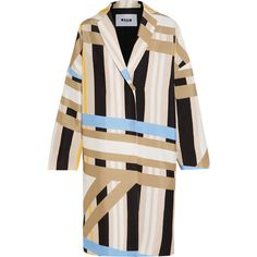 MSGM Printed crepe coat (€845) ❤ liked on Polyvore featuring outerwear, coats, colorful coat, striped coat, msgm, multi colored coat and stripe coat