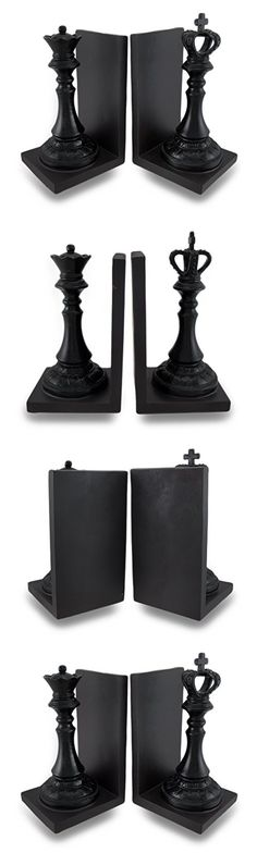 Deco 79 Polystone King and Queen Chess Bookend Pair, 5 by 8-Inch, Walnut Brown/Black