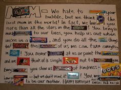 Candy Bar Poster for Moms Birthday {candy gram} – Tip Junkie gift quotes Candy Bar Poster for Moms Birthday {candy gram} Birthday Candy Grams, Birthday Candy Posters, Candy Birthday Cards, Birthday Gifts For Bestfriends, Mother Birthday Gifts, Diy Mothers Day Gifts, Diy Birthday, Birthday Ideas, Grandpa Birthday