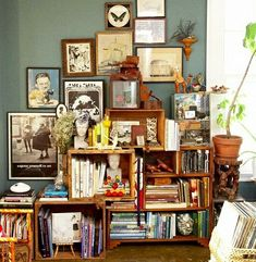 Upcycling -- Collect a variety of wooden packing crates and stack them haphazardly for an eclectic bookshelf.