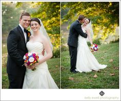 Natural outdoor fall bride and groom portraits at River Creek Country Club wedding in Leesburg, Virginia