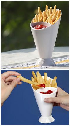Novel French Fry Cone Dipping Cup 2 in 1 Ice Cream