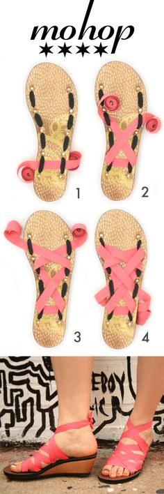 Mohop Wedge Ribbon Sandals. Vegan, Infinitely Interchangeable and Made with Love in Chicago.