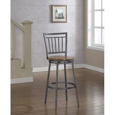 "American Woodcrafters Foland 25"" Swivel Bar Stool with Cushion"