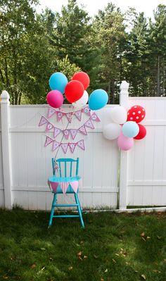 Birthday Party : Image : Description Pink and aqua first birthday smash cake highchair setup Circus First Birthday, Circus 1st Birthdays, Baby Birthday, First Birthday Parties, First Birthdays, Garden Birthday, Party Props, Party Ideas, Birthday Photos