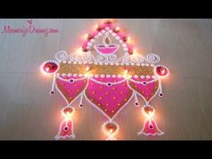 Easy and Colourful Diya Rangoli Designs for competition and festival | Rangoli By Maya! - YouTube