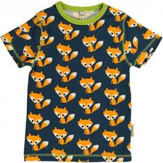 T-shirt, dark blue with foxes, Maxomorra