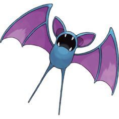 Zubat, the Bat Pokémon. Zubat is a blue, bat-like Pokémon. While it lacks eyes, it has pointed ears with purple insides and a mouth with four pointed teeth. There are two pointed teeth on both the upper and lower jaws, and a male will have larger pointed teeth than the female. It has purple wing membranes support by two, elongated fingers, and two long, thin, tails.