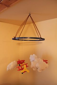 DIY: Baby Boy Mobile- If anyone wants me to make this or help them think of ideas that would work for their nursery, let me know! I am happy to help!