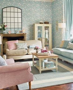 Find sophisticated detail in every Laura Ashley collection - home furnishings, children's room decor, and women, girls & men's fashion. Duck Egg Blue Living Room, Pastel Living Room, Living Room Grey, Living Room Sofa, Home Living Room, Living Room Designs, Duck Egg Blue Lounge, Duck Egg Blue Bedroom, Laura Ashley Living Room
