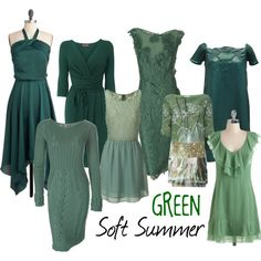 """Soft Summer Green"" by colorazione on Polyvore (CLM-I want a green dress to show off the roses scarf my mom gave me.)"