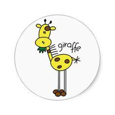 Stick Figure Giraffe T-shirts and Gifts Round Stickers