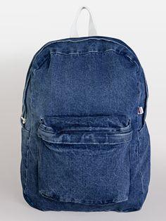 Denim School Bag in Dark Wash Denim/Natural by #AmericanApparel.  #denim #backpack