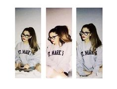 Ariana Grande can pull off anything! Check her out in a crew neck + glasses. Beautiful as ever!