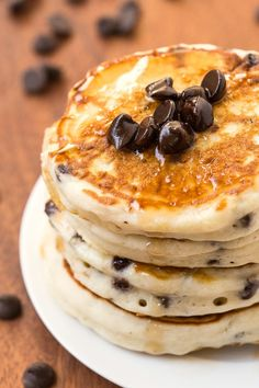 Healthy Fluffy Low Carb Chocolate Chip Pancakes made with NO grains, no sugar and no butter- Naturally gluten free, paleo, vegan, grain free too!