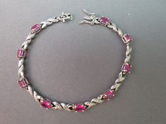 VTG Sterling Silver Tennis Bracelet Pink Stones 8.87 Grams Marked 925 R China #RChina #Tennis