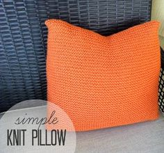 This simple knit pillow pattern is a fun garter stitch knitting project inspired by the famous home decor retailer, Crate & Barrel.