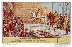 Siege of Lisbon, October 25, 1147, Portuguese King Afonso enters the city of Lisbon after defeat of muslim moors
