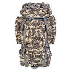 Large Capacity 65L Man Travel Backpack Camouflage Bag for Mountaineer Rain Cover Metal Frame  Bag DS65001