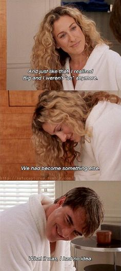 Carrie Bradshaw, Sarah Jessica Parker, Sex and the City Tv Show Quotes, Movie Quotes, Mr Big Quotes, Carrie And Mr Big, Chris Noth, City Quotes, Samantha Jones, Movie Lines, And Just Like That
