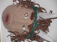 3rd grade ancient Greek mythology paper mache mask; art teacher: Susan Joe