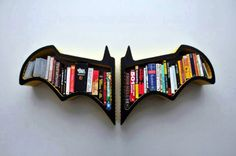 Batman: The Dark Knight reads . then shelves his books back where he found them. Check out these bookshelves based on the Batman symbol. Batman Bookshelf, Cool Bookshelves, Bookshelf Design, Bookshelf Ideas, Bookcases, Book Shelves, Modern Bookshelf, Book Storage, Homemade Bookshelves