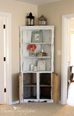 Every home has one: that small corner that's impossible to furnish or decorate. If you are out of ideas for your awkward corner, look no further than this tutorial on how to make a beautiful Corner Cabinet, which sports function and style!