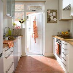 peach tiled kitchen floor white walls - Google Search