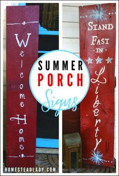 Rustic DIY holiday porch signs from barn or pallet wood l Make farmhouse porch signs for indoor/outdoor use l Save money for fall, winter, spring, Halloween, Christmas, Fourth of July and every day! l Homestead Lady.com #homesteadholidays #porchsigns #porchdecor #DIY #barnwood #christmas #easter #halloween #patriotic Summer Porch, Summer Diy, Outdoor Gardens, Indoor Outdoor, Diy Projects For Beginners, Diy Chicken Coop, Real Plants, Porch Signs, Fun Hobbies