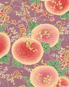 Stoff japanische Motive - Itaya Naomi Lilac Mums - japanische kimono stoff - ein Designerstück von carolmaro bei DaWanda