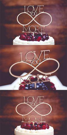 Romantyczny topper na tort ślubny! Love you more #topper #ślub #wesele #caketopper #dekoracja #ślubny #wesele #weselny #tort #shapedesign #love