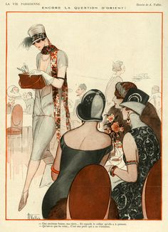 Art Deco, Fashion Illustration for French Magazine, 'La Vie Parisienne' Art Deco Illustration, Fashion Illustration Vintage, Arte Fashion, Art Deco Fashion, Art Deco Period, Art Deco Era, Moda Art Deco, Art Deco Stil, Art Vintage