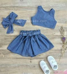 2019 Girls Stripe Sets Kids Clothing 2017 Summer Lotus Leaf Edge Sleeveless Top + Bow Pant DR 078 From. Baby Girl Dress Patterns, Baby Dress Design, Dresses Kids Girl, Little Girl Outfits, Toddler Outfits, Kids Outfits, Dress Outfits, Baby Girl Fashion, Kids Fashion